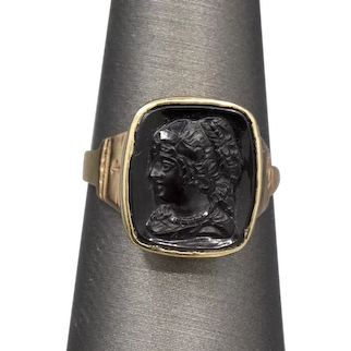 Victorian Black Pressed Glass Cameo of Queen Victoria Ring in 10k Yellow Gold