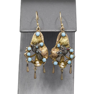 Victorian Bird Turquoise and Seed Pearl Dangle Earrings in 14k Yellow Gold