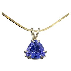 Sparkling Certified Blue Violet Tanzanite Trillion Cut Solitaire Pendant Necklace in 14k Yellow Gold