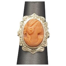 Antique Victorian Coral Cameo Ring with Engraved Frame in 14k Yellow Gold