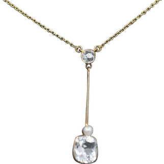 Art Nouveau Natural Aquamarine and Pearl Lavalier Pendant Necklace in 14k Rose Gold