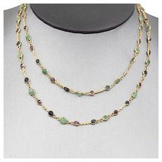"""Ruby Sapphire and Emerald Bezel Set Chain Necklace in 14k Yellow Gold 26"""""""