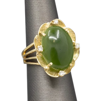 Green Nephrite Jade and Diamond Cocktail Ring in 14k Yellow Gold