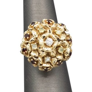 Gorgeous Mid-Century Diamond Garnet and Chrysoberyl Cocktail Ring in 14k Yellow Gold