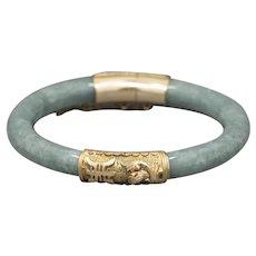 Jadeite Jade Celadon Green Carved Round Hinged 7.5mm Bangle Bracelet in 14k Yellow Gold