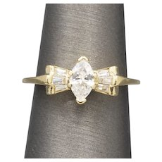 Beautiful Butterfly Ribbon Bow Marquise and Baguette Diamond Ring in 14k Yellow Gold