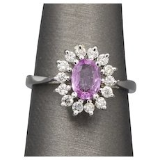 Vintage Pink Sapphire and Diamond Engagement or Right Hand Ring in 14k White Gold