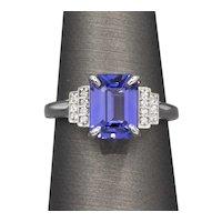 Rich Emerald Cut Tanzanite and Diamond Ring in 14k White Gold