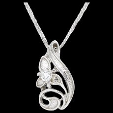 Diamond Orchid Pendant Slide 14k White Gold