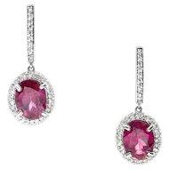 Handcrafted 5.30ctw Rhodolite Garnet and Diamond Halo Hoop Earrings in 18k