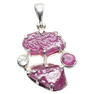 Raw Ruby and White Topaz in Sterling Silver Pendant