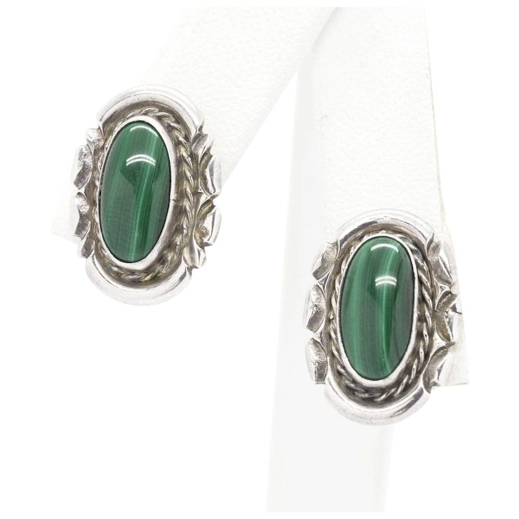 Engraved Sterling Silver And Malachite Stud Earrings