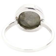 Round Labradorite and Sterling Silver Ring Size 7.75