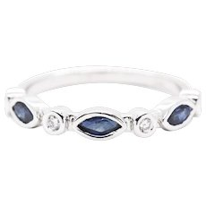0.72ctw Blue Sapphire and Diamond Stackable Wedding Anniversary Band Ring in 14k White Gold