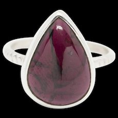 Red Garnet Cabochon Pear Droplet Shaped Bezel Set Sterling Silver Ring