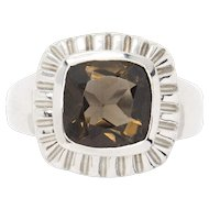 Cushion Cut Smokey Quartz and Sterling Silver Ring