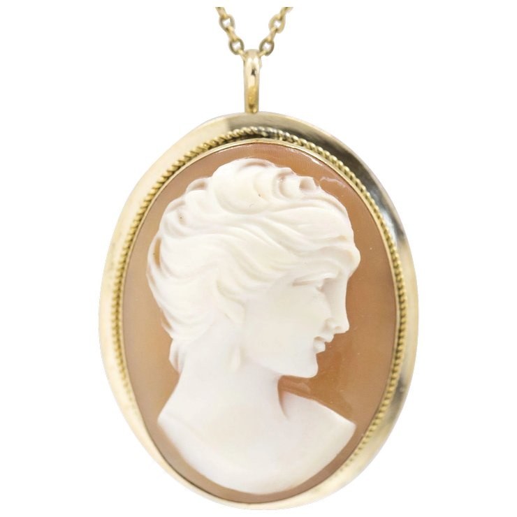 Vintage 18k yellow gold cameo pendant pin brooch the jeweled vintage 18k yellow gold cameo pendant pin brooch aloadofball Images