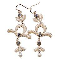 Antique Italian Blue Sapphire and Seed Pearl Hook Chandelier Dangle Earrings 15k