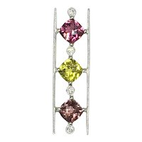 3.10ctw Pink Yellow-Green and Sherry Tourmaline and Diamond Pendant Slide 14k