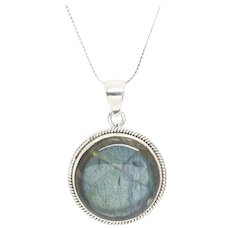 Round Labradorite Sterling Silver Pendant with Mill Grain Detailing