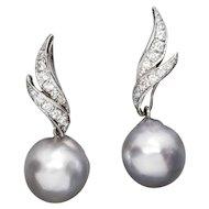 13mm Silver South Sea Pearl and 0.50ctw Diamond Dangle Earrings 18k