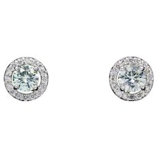 1.62ctw Light Green Moissanite and Diamond Halo Stud Earrings 14k