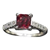 2.50ct Bright Red Hessonite Grossularite Garnet and Diamond Ring 14k