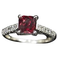 2.50ct Bright Red Hessonite Grossularite Garnet and Diamond Ring 14k