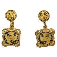 Vintage Damscene Earrings with Spanish Griffin