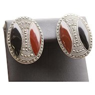 Vintage Carnelian and Onyx Marcasite Art Deco Omega Back Earrings