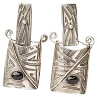Vintage Artisan Abstract Sterling Silver and Onyx Dangle Earrings