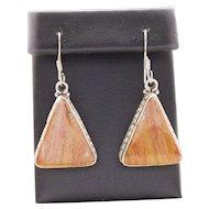 Vintage Orange Jasper Sterling Silver Triangle Dangle Earrings