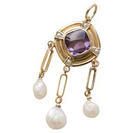 Victorian Amethyst and Seed Pearl 10K Gold Lavalier