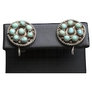 Vintage Southwestern Turquoise and Sterling Silver Stud Earrings with Screwback