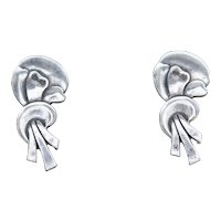 Vintage Sterling Silver Ribbon Shape Stud Earrings with Screwback