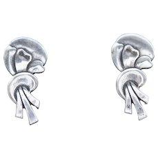 Vintage Sterling Silver Ribbon Shape Stud Earrings with Screwback