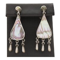 Vintage Pink Mother of Pearl and Mexico Sterling Silver Dangle Earrings With Screwback