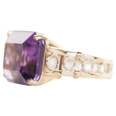 15.0ct Emerald Cut Amethyst Cocktail Statement Ring in White and Yellow 14K Gold