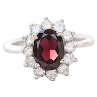 Classic 2.0ctw Garnet and Diamond Ring in 14k White Gold