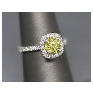 1.25ctw Yellow and White Natural Diamond Halo Platinum Engagement Wedding Ring