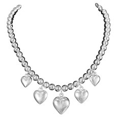 """Vintage Sterling Silver Heart and 8mm Bead Necklace 17"""""""