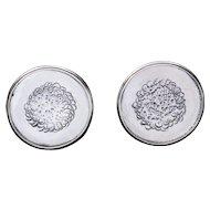 Handmade Textured Round Sterling Silver Cufflinks