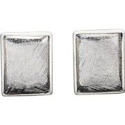 Hammered Meteorite and Sterling Silver Rectangle Cufflinks