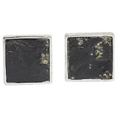 Square Pyrite in Hammered Sterling Silver Cufflinks