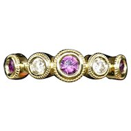 Handmade Rhodolite Garnet and Diamond Bezel Set Stack Band Ring 14k