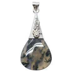 Handcrafted Moss Agate Sterling Silver Pendant with Spiral Design