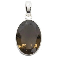 """Lovely Smokey Quartz Sterling Silver Pendant With Large Bail just over 1.25"""" Length"""