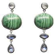 Malachite and Moonstone in Sterling Silver Drop/Dangle Earrings
