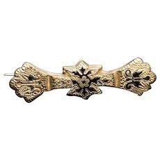 Victorian Mourning Pin 14K Rose Gold and Black Enamel