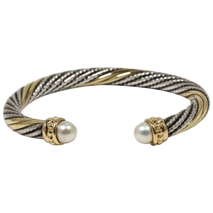 Alwand Vahal 14k And Sterling Silver Cable Twist Cuff Bracelet With Pearl Caps